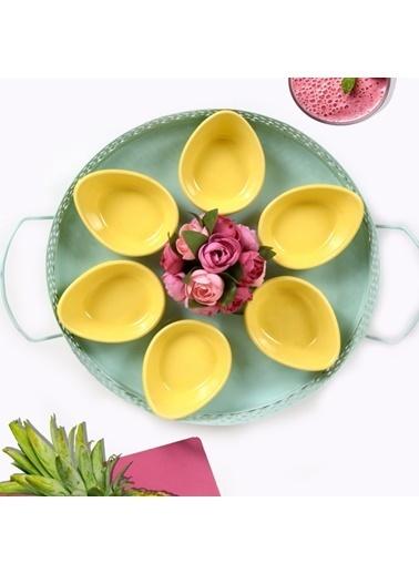 Keramika Keramika Mini Gondol Sarı Çerezlik / Sosluk 8 Cm 6 Adet Renkli